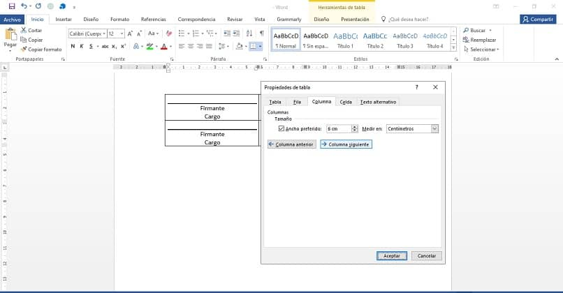 propriedades da tabela de documentos do Word