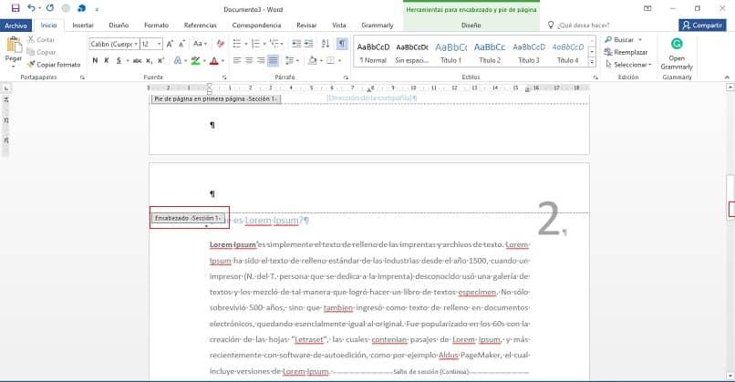 cabeçalho da página no documento do Word