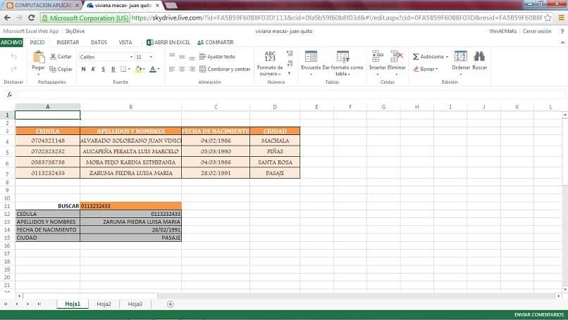 uma tabela de dados do Excel para consultar