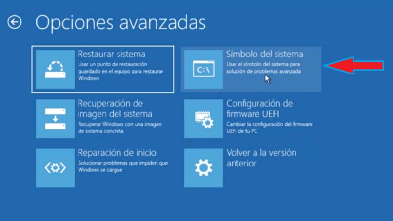opções avançadas do Windows 10