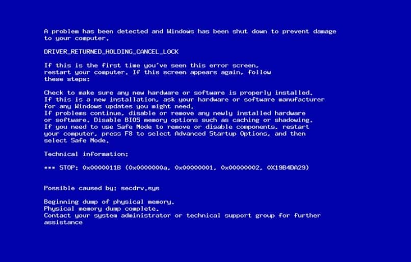 erro comum de tela azul do windows