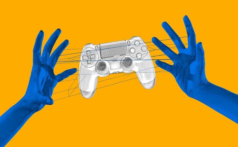 ilustração mãos segurando o controle ps4