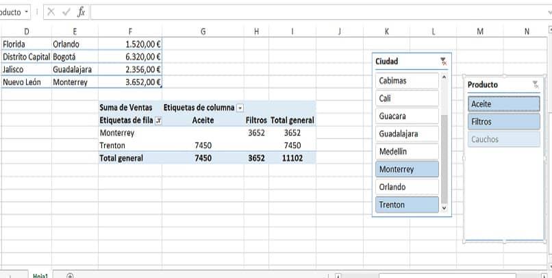 vários filtros em várias tabelas dinâmicas no excel