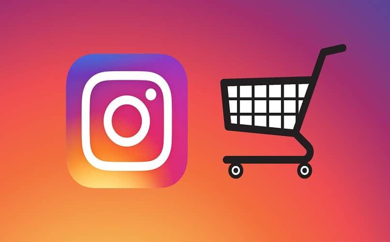 carrinho de compras e logotipo do instagram