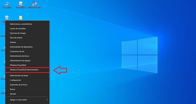 usando windows powershell como administrador