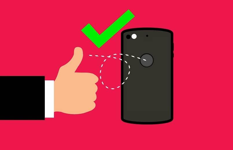 botão do polegar do telefone