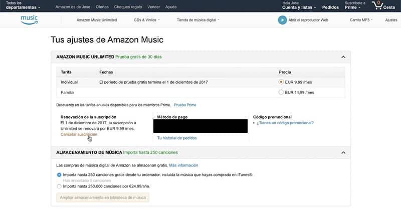 opção de cancelar a assinatura da música amazon ilimitada