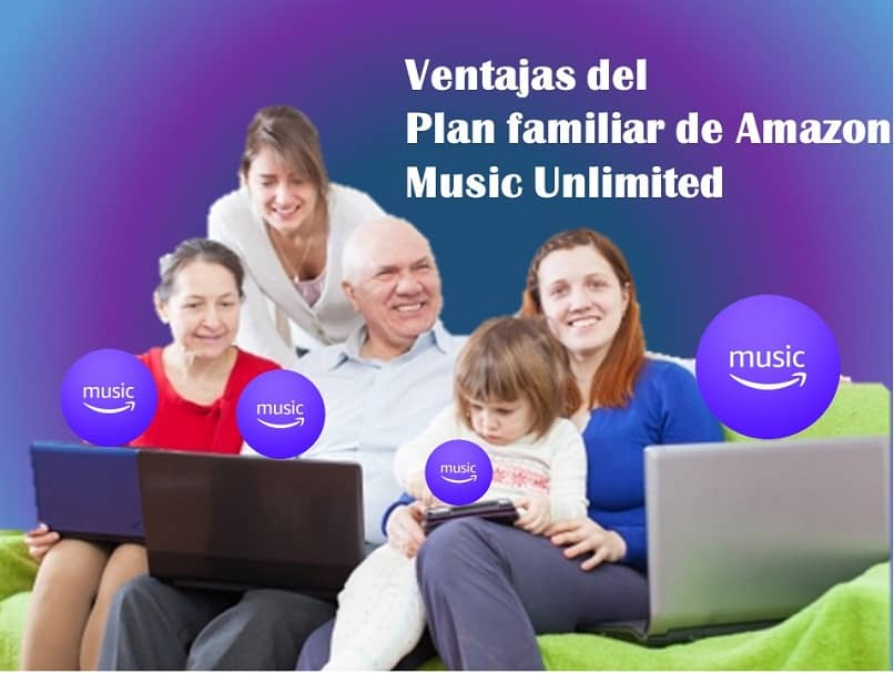 família feliz curtindo serviços ilimitados de música amazônica