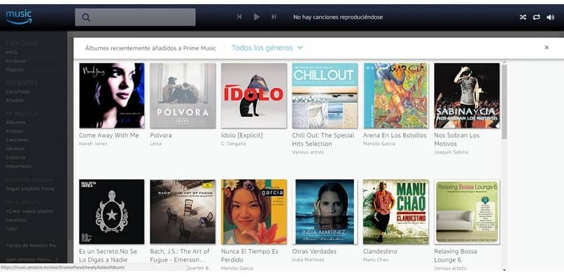 tela da interface amazon prime music