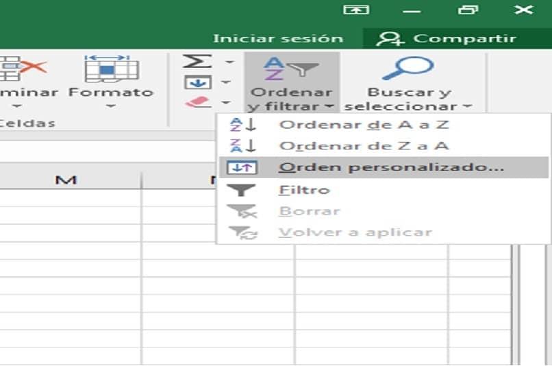classificar e filtrar na barra de lançamento do Excel