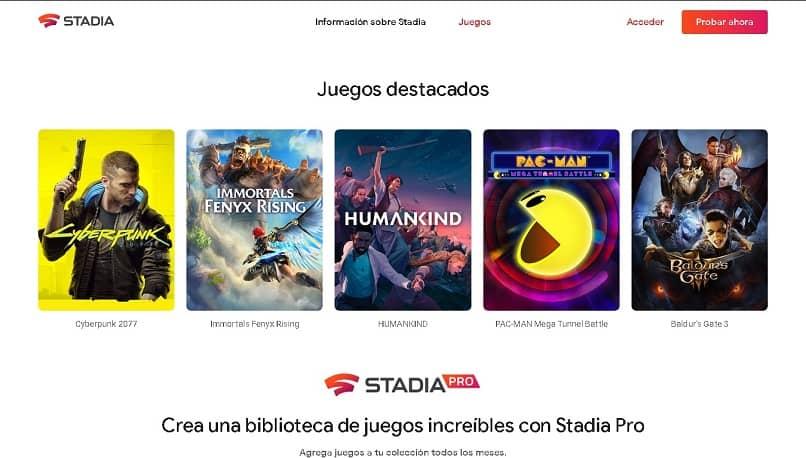 página da web do google stadia
