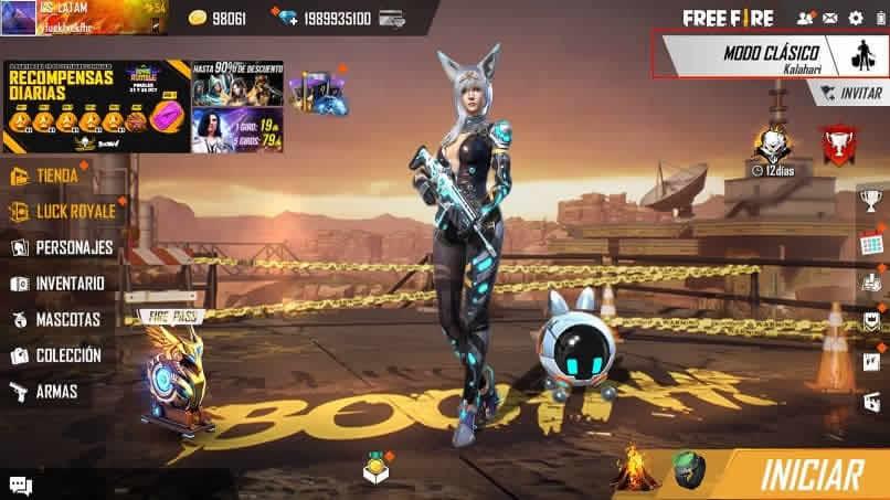 tela de seleção de personagens em fogo livre