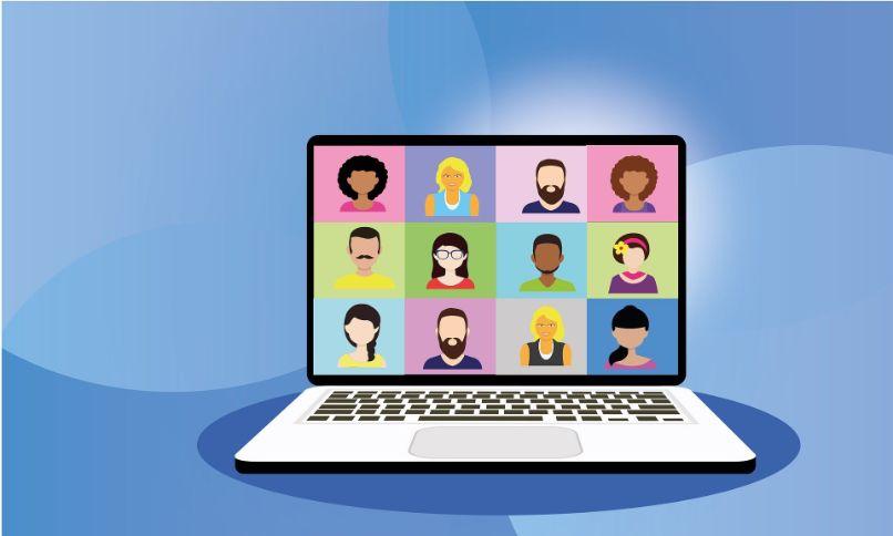 desenho de laptop em videochamada com fundo azul