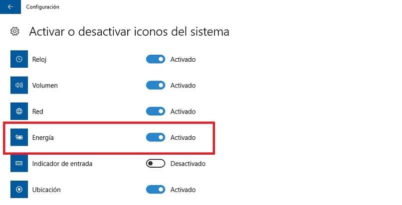 ativar o ícone da bateria nas configurações do Windows 10