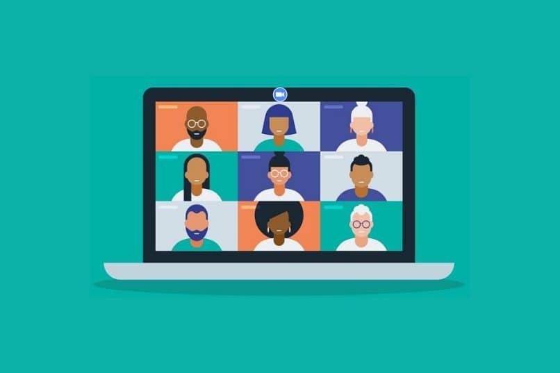 laptop com videochamada e pessoas em fundo azul