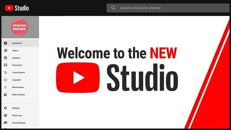 tela inicial do youtube studio