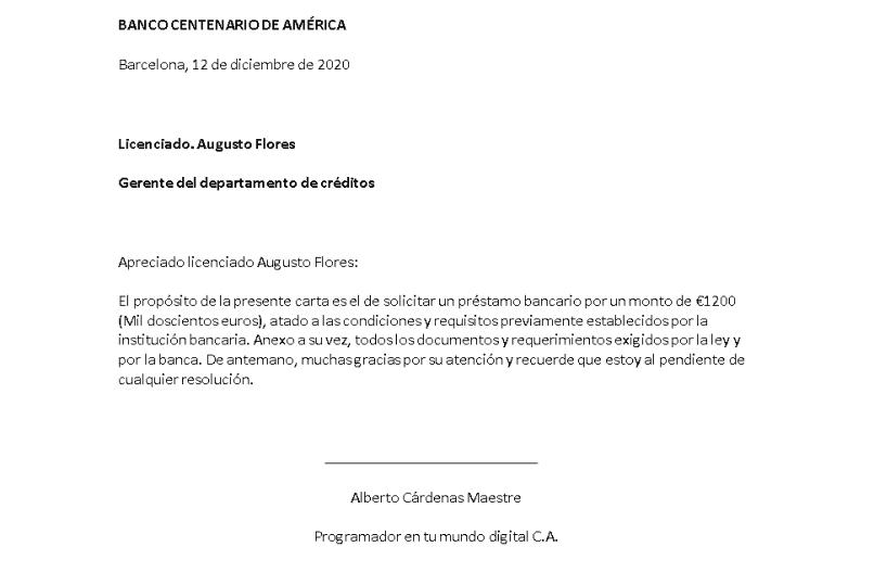carta de solicitação de empréstimo modelo