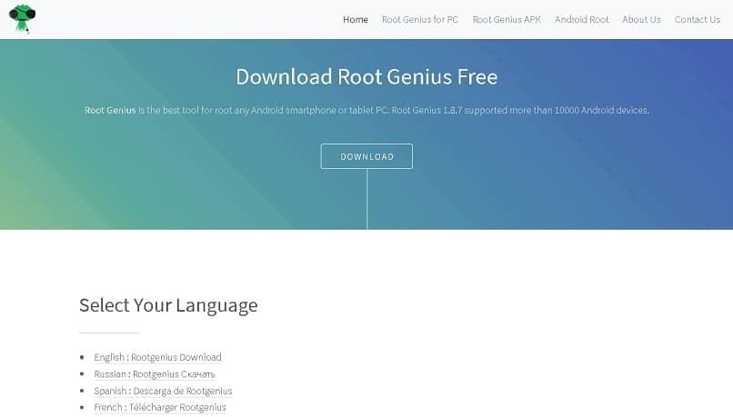 página oficial do aplicativo root genius para Android