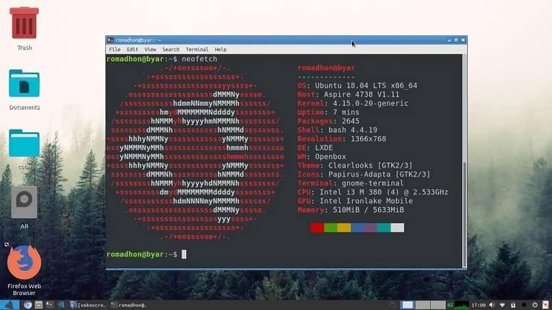 aplicando o programa neofetch no Linux Ubuntu
