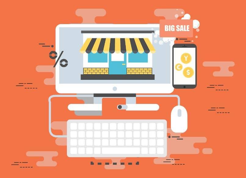 loja online em um computador