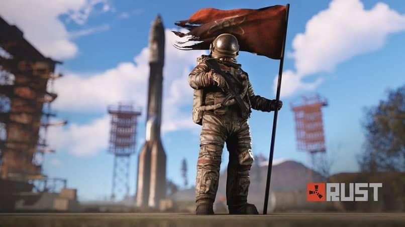 personagem astronauta segurando bandeira de ferrugem